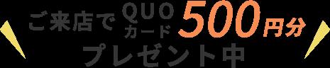 ご来店でQUOカード500円分プレゼント中